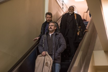 """From L to R: Bryan Cranston as """"Sal,"""" Steve Carrell as """"Doc,"""" and Laurence Fishburne as """"Mueller"""" in LAST FLAG FLYING."""
