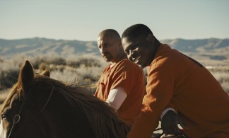 Matthias Schoenaerts (left) as Roman Coleman and Jason Mitchell (right) as Henry in Laure de Clermont-Tonnerre's THE MUSTANG, a Focus Features release. Credit : Focus Features